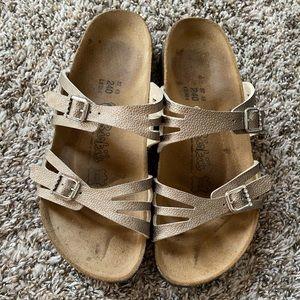 Taupe Birkenstock sandals